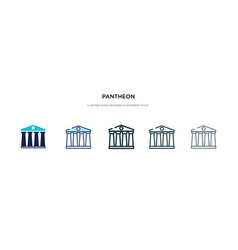 Pantheon icon in different style two colored and vector