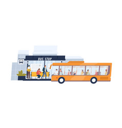 people waiting and getting on arrived bus vector image
