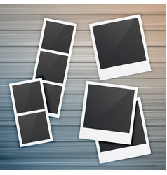 Photo frames collection on wooden background vector