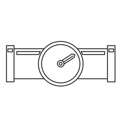 Pipe with water meter icon outline style vector
