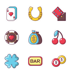 Play for money icons set flat style vector