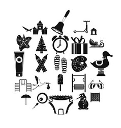 Playroom icons set simple style vector