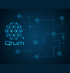 Qtum blockchain bitcoin background design vector