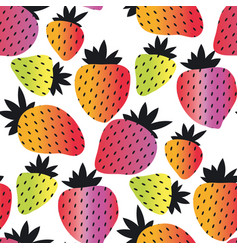 rainbow color strawberry seamless pattern vector image