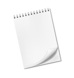 Realistic blank notepad with turned-up corner vector