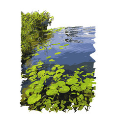 Realistic lake with water lilies vector