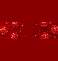 red background for christmas and happy new year vector image