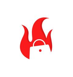 Red burn bag logo design vector