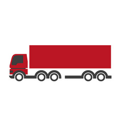 red lorry icon in flat design isolated on white vector image