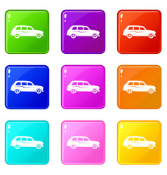 retro car icons 9 set vector image