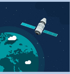 Satellite ship in orbit outer space earth vector
