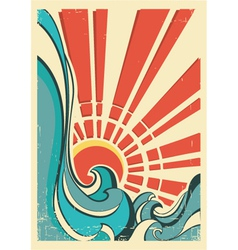 Sea wavesvintage of nature poster with yellow sun vector