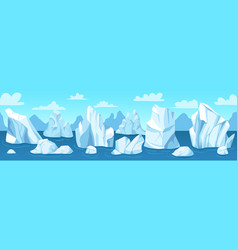 seamless arctic landscape icebergs snow vector image