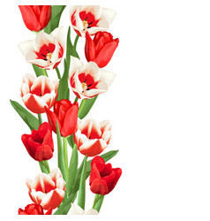 seamless border with red and white tulips vector image