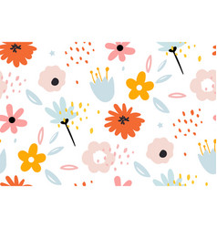 seamless pattern with creative decorative flowers vector image