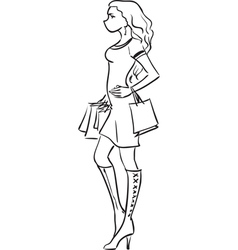 Series Shopping The fashionable girl after vector image