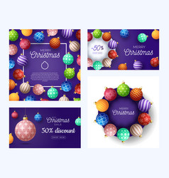 set christmas square and horizontal promo vector image