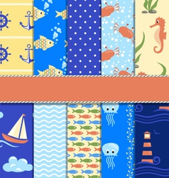 Set of 10 seamless sea patterns vector