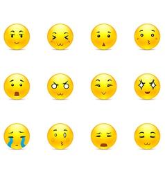 Set of anime smiles vector image