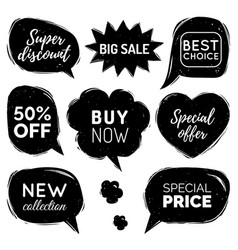 Set of comic speech bubbles sale stickers vector