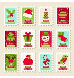 Set of postal stamps with Christmas and New Year vector