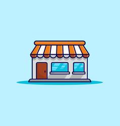 simple square orange store building vector image
