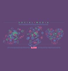 social media colorful linear vector image