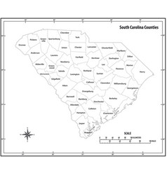 south carolina state outline administrative map vector image