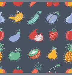The seamless fruits pattern on dark background vector