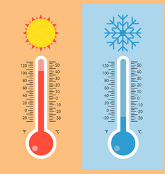 Thermometer flat style with scale vector