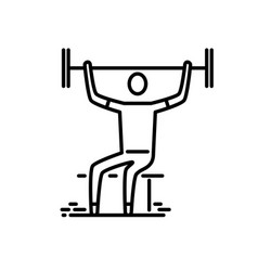 thin line icon man with barbell doing vector image