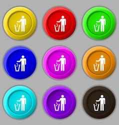 throw away the trash icon sign symbol on nine vector image