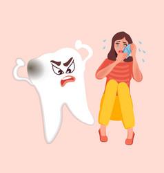 Toothache stomatitis man is sick vector