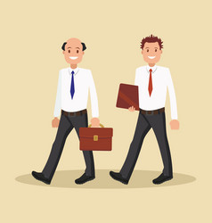 two businessmen in white shirts go to the office vector image