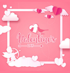 Valentines day in square white cloud cupid winged vector