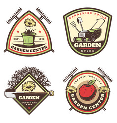 vintage colored gardening emblems set vector image
