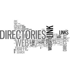 web directories used to get one way links text vector image