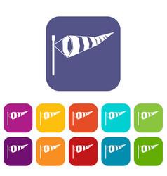 windsock icons set vector image