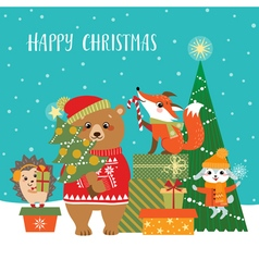 Woodland Christmas greetings vector