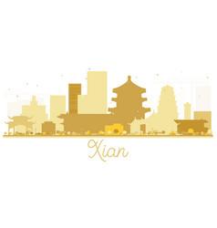 Xian china city skyline golden silhouette vector