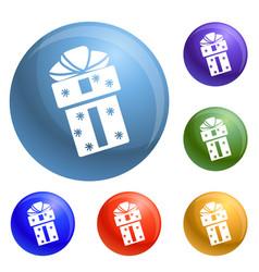 xmas box icons set vector image