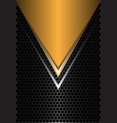 yellow triangle silver arrow on black hexagon vector image
