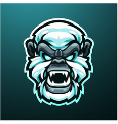 yeti head mascot logo design vector image