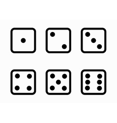 black line dice cubes icons set vector image