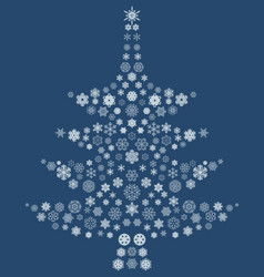 christmas tree of snowflakes vector image vector image
