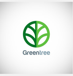 green tree round icon logo vector image vector image