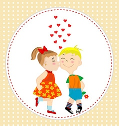 Greeting card with boy and girl kissing vector image