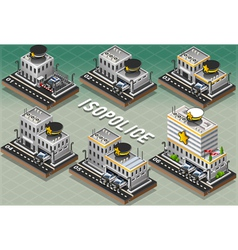 Set of Isometric Police Stations vector image vector image