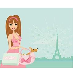 sexy women Shopping in Paris vector image vector image