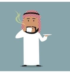 Arabian businessman drinking a coffee vector